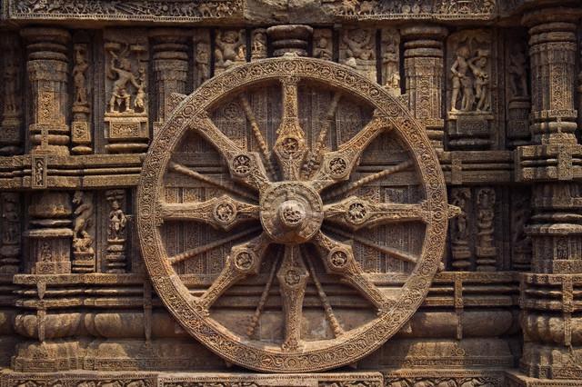 Detail of Stone Wheel on Sun Temple